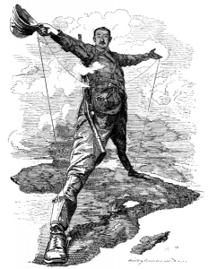 Cecil Rhodes straddling the continent of Africa